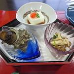 料理旅館つるや - 小鉢(河豚の白子豆腐、栄螺つぼ焼き、シメジとセリのお浸し)