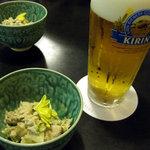 2321805 - ビールで乾杯!お通しはツナと海老のマヨネーズ合え?