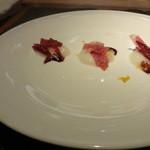 トラットリア フィオーレ - 3種の生ハム+聖護院大根+バルサミコ酢(2013/12)