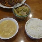 天鳳 - ザーサイ、ライス、スープ
