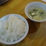 一龍 - 小ライス、スープ