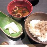 町衆料理 京もん - おまかせコース 和 やわらぎのちりめんジャコご飯と赤だしの味噌汁