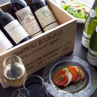 イタリア・フランス直輸入のワインは毎日種類を揃えています♪