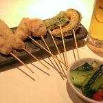 こころ - 旬のお野菜で串カツ!ビールにぴったりな一品です♪会社帰りに一杯なんてときにぴったりです♪