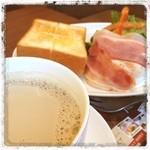 上島珈琲店 - 黒糖ミルクコーヒーとモーニング(¥620)をいただきまーす