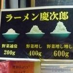 ラーメン慶次郎 - 野菜盛りの説明書き