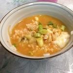 韓国弁当マダン - ご飯にスープをかけて