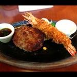 グリル&カレー カキヤス - ハンバーグ(国産牛入り)&大海老フライ