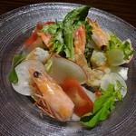 えびマリアージュきっちん - 天使の海老と鮮魚のカルパッチョ 冬野菜添え