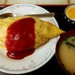 城南食堂 - 料理写真:オムライス(味噌汁つき) 1