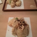 蕎麦切 砥喜和 - 牡蠣の天麩羅と白子の天麩羅。