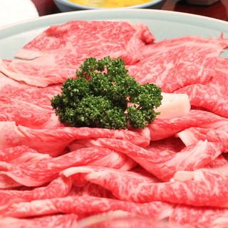岡半 - 料理写真:厳選した最高級霜降り松坂牛 (2013/12)