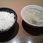 牛たん若 - ご飯、テールスープ