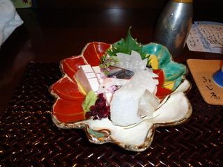 ふじ原 - アオリイカ、カンパチ、シマアジ、サヨリの炙り、ヒラメのお造り