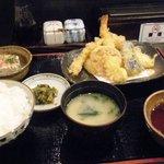 かる鴨 - 天ぷら定食。