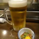 23352504 - 生ビールとお通しのうずら納豆