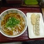 彦兵衛 - 料理写真:かけうどん300円 鶏天とちくわ天 各120円