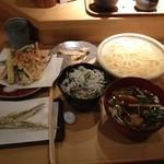 Kamakuramiyoshi - 鴨釜うどん、季節野菜の天ぷら盛り合わせ、しらす丼、あまだいの干物、幻魚の天ぷら