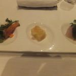 レストランフォレスト - パルマ産生ハムと柿のサラダ 葡萄と鯛のマリネ じゃが芋とパルメザンチーズのドフィノワーズ