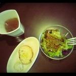 23360043 - セットのスープ・サラダ・パン。/2012年10月