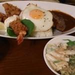 花梨 - 「今月のよくばりセットB」 Karinオリジナルロコモコ、エビフライ、からあげ、スープ、ドリンクで1,000円