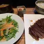 点 - 2013/12 サーロインステーキランチ(主菜/サラダ/汁もの/五穀米/小鉢/デザート)1,500円