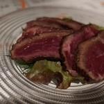 チャコール - 国産牛もも肉の漬けカルパッチョ