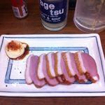 大統領 - 合鴨の燻製。マヨネーズに七味を掛けて、少しお醤油を垂らすのが通な食し方。