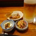 酒処・串焼・秋元 - (2013/11月)生ビールとお通し第一弾