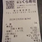 無添くら寿司 - レシート(2013.12.20)
