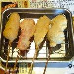 串かつ でんがな - うずらの卵¥120+紅生姜¥120+きす¥120+帆立¥120