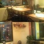博多フードパーク 納豆家 粘ランド - テーブル席。窓から見える景色は、薬院周辺を通る人なら見覚えのある御馴染みのものかも