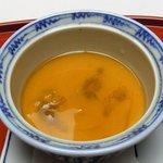 吉祥寺 車屋 - 蒸し物/雲丹、百合根、タケノコ、鱶ヒレ餡(2014.1)
