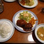 ゲンジ - Cセット \910 海老クリームコロッケ ミンチカツ サラダ ライス おみそ汁