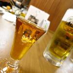 神谷バー - 黄金タッグ!デンキブラン260円(左)生ビール中750円