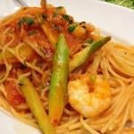 23472032 - スパゲッティ・海老とアスパラ辛口トマト-ソース