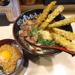 23474181 - 肉ごぼ天うどんと、なめたけごはんの競演! これで仙台の自宅まで、満腹が持続(笑)
