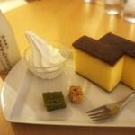 北海道牛乳カステラ - 北海道牛乳カステラ、ドリンク(牛乳)セット