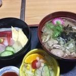 あおやま - 海鮮丼と鳥麺のセット