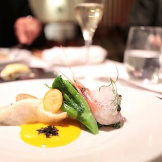 イザイ - 天然鯛と甘エビ、牡蠣のサフランソース '13 12月中旬