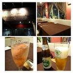 ビストロシュン - 苺シャーベットとシャンパンのカクテル、運転する主人は「ノンアルコールビール」です。