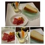 ビストロシュン - アミューズ・・野菜のカクテル、野菜のマリネ、パン(アヒージョのオイルと共に頂きます。