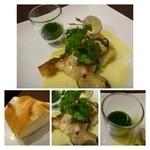 ビストロシュン - 魚料理は「鱸」・・皮までカリッと焼かれていますよ。クリームとバター風味の優しいソースです。