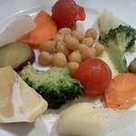 イルピッツァイオーロ - 温野菜のアップ