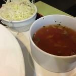 文化亭 - セットのミネストローネとキャベツのサラダ
