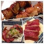 大東京酒場 - ハツ刺し、トロタン炙り、串はレバ、ハラミっと。安いのに鮮度バツグン(^-^)