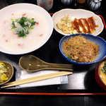 おいしい台所12カ月 - 〔日替ランチ〕 2014年春の七草粥・ハムチーズカツ・チャプチェの定食(¥800)