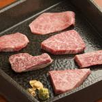 BAKURO - 料理写真:右上から時計回りにミスジ、ヒレ、インサイドスカート、イチボ、特選ハラミ、厚切りタン