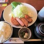 和食や 吉べえ - 厚切りハムカツ定食(ライス大盛)¥800