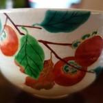 23527631 - (2013/11月)お抹茶の器は柿の絵でした